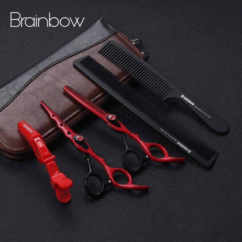 Brainbow 6,0 Japan peluquería Tijeras de corte de Pelo adelgazamiento Tijeras conjunto Barber Tijeras Pelo de alta calidad de salón
