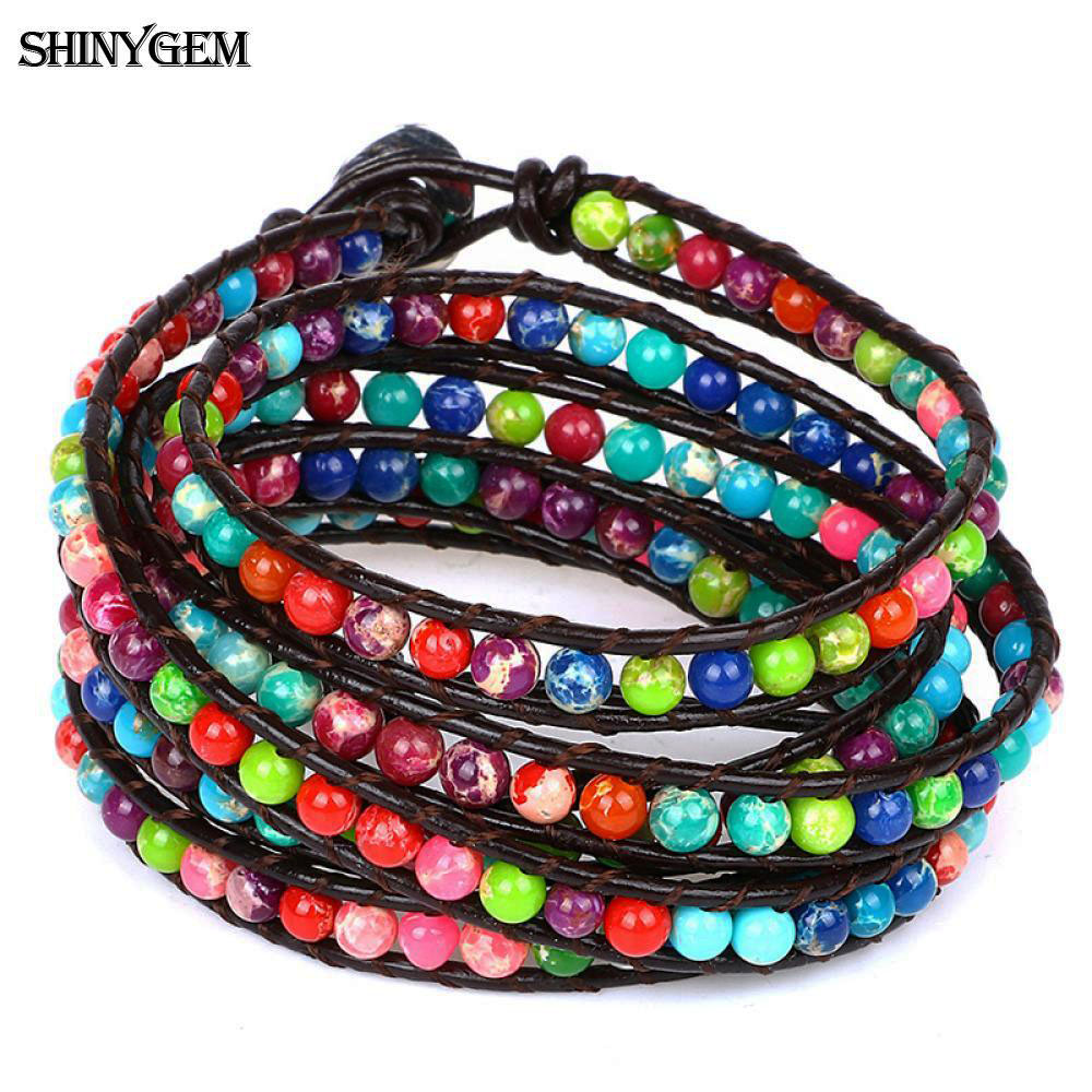 ShinyGem 4mm Natural Sea Sediment Stone Wrap Bracelet Multi Color Natural Stone Bead Multi layer Leather Wrap Bracelet For Women