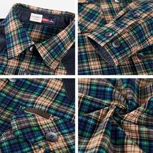 Image 5 - Camisa Hombre Plaid militar 100% algodón Manga larga 2019 Franela masculina Otoño Botones Camisas casuales Marca de lujo Vestido a cuadros de alta calidad Streetwear Camisas para hombre Camisa casual con botones