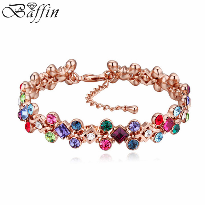 Luxury Crystal From SWAROVSKI Bracelets Rose Gold Color Pulseras For Women Wedding Party Accessories Christmas Best Gifts