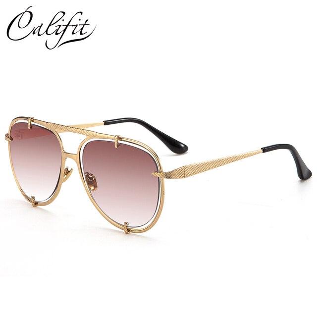 32fb02a6ec3 CALIFIT Fashion Design Sunglasses Men Double Gold Frame Pilot Shades Male  Brand Gradient Driving Sun Glasses Oculos 2018 New