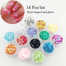 14Pcs / lot heart-type sequins flash light crystal therapy nail ornaments beauty nail glitter
