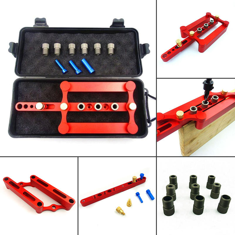 6/8/10mm Self Centering Dowelling Jig Set Metric Dowel Drilling Hand Tools Set Power Woodworking Tool