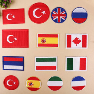 Circular Country Flag Turkey Parches Ropa Patch Embroidered Patches For Clothing Iron On For Close Shoes Bags Badges Embroidery(China)
