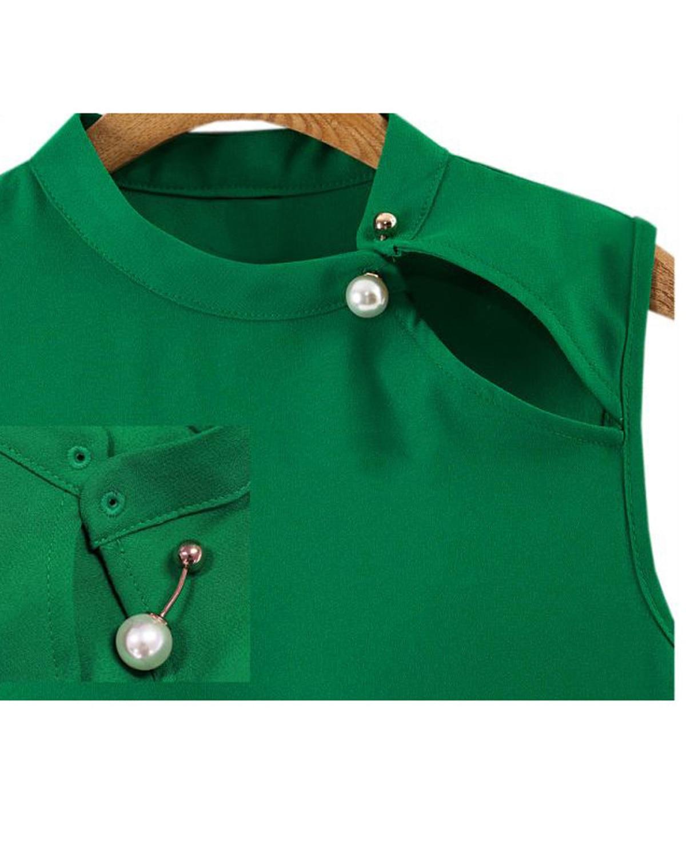 447e3e6a763678 Zmart Women's Chiffon Blouse Loose Fit Sleeveless Green Blouse Tops ...