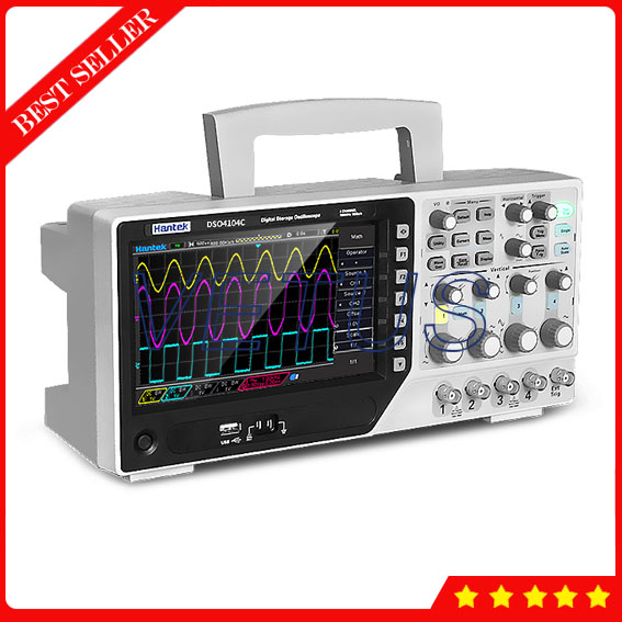 Hantek DSO4104C 100MHz 4 Channel Digital Storge Oscilloscope Price with Bench type Scopemeter 1GSa/s USB 7'' Color 64K color TFT image
