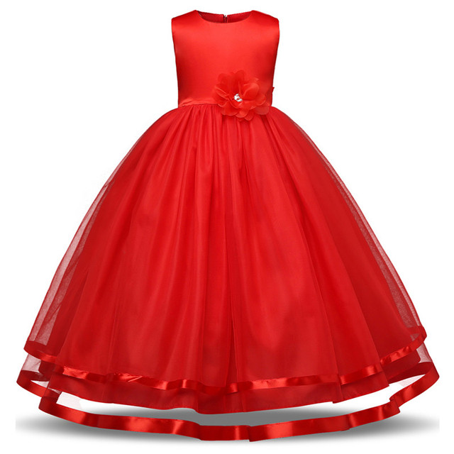 93a6aaae8ba3e US $8.19 23% OFF|Red Elegant Flower Girl Wedding Dresses Evening Party  Dresses For Teenager Girl Children Costume Kids Clothes Girl Formal  Frocks-in ...