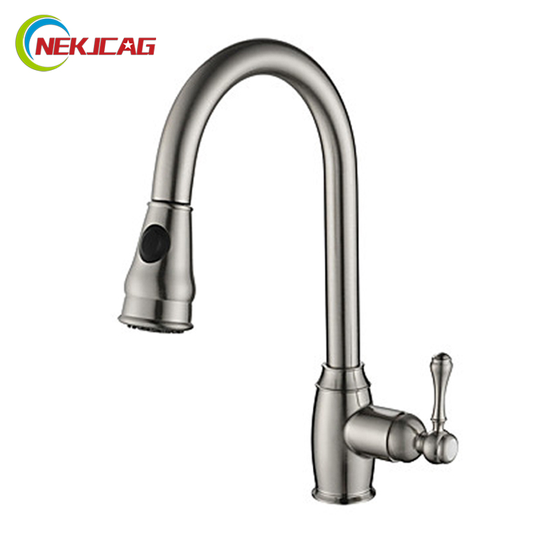 Luxury Brushed Nickel Black Kitchen Pull Out Faucet Deck Mounted Single Handle Pull Down Hot and Cold Water Mixer Taps luxury pull out chrome brushed nickel finish kitchen faucet mixer single hole deck mounted