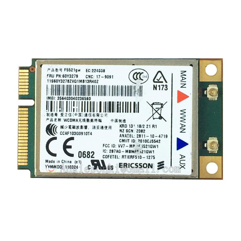 US $12 9 |Unlocked F5521GW 60Y3279 04W3767 21Mbps HSPA+ 3G WWAN Card for  Thinkpad Lenovo E420 T520 W520 X220 T420 X1 L420 L421 L520 T420i-in 3G  Modems