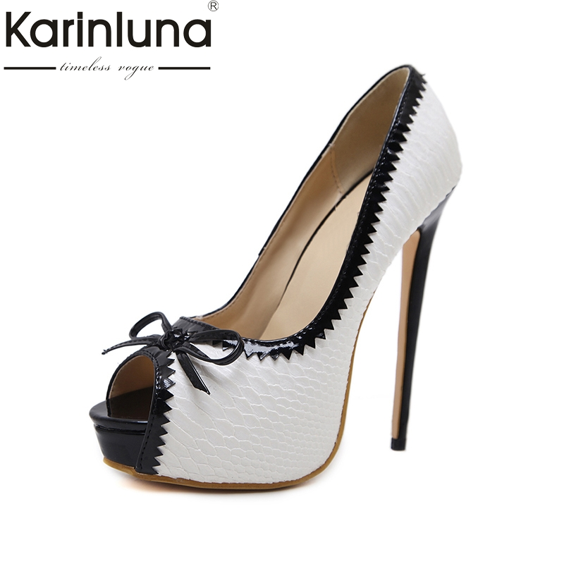 Karinluna 2018 Brand Shoes Women Sex Thin High Heels Bowtie Platform Woman Shoes Peep Toe Slip On Woman Pumps Size 35-40 lapolaka 2018 high quality large size 33 48 slip on thin high heels peep toe shoes woman platform party wedding pump