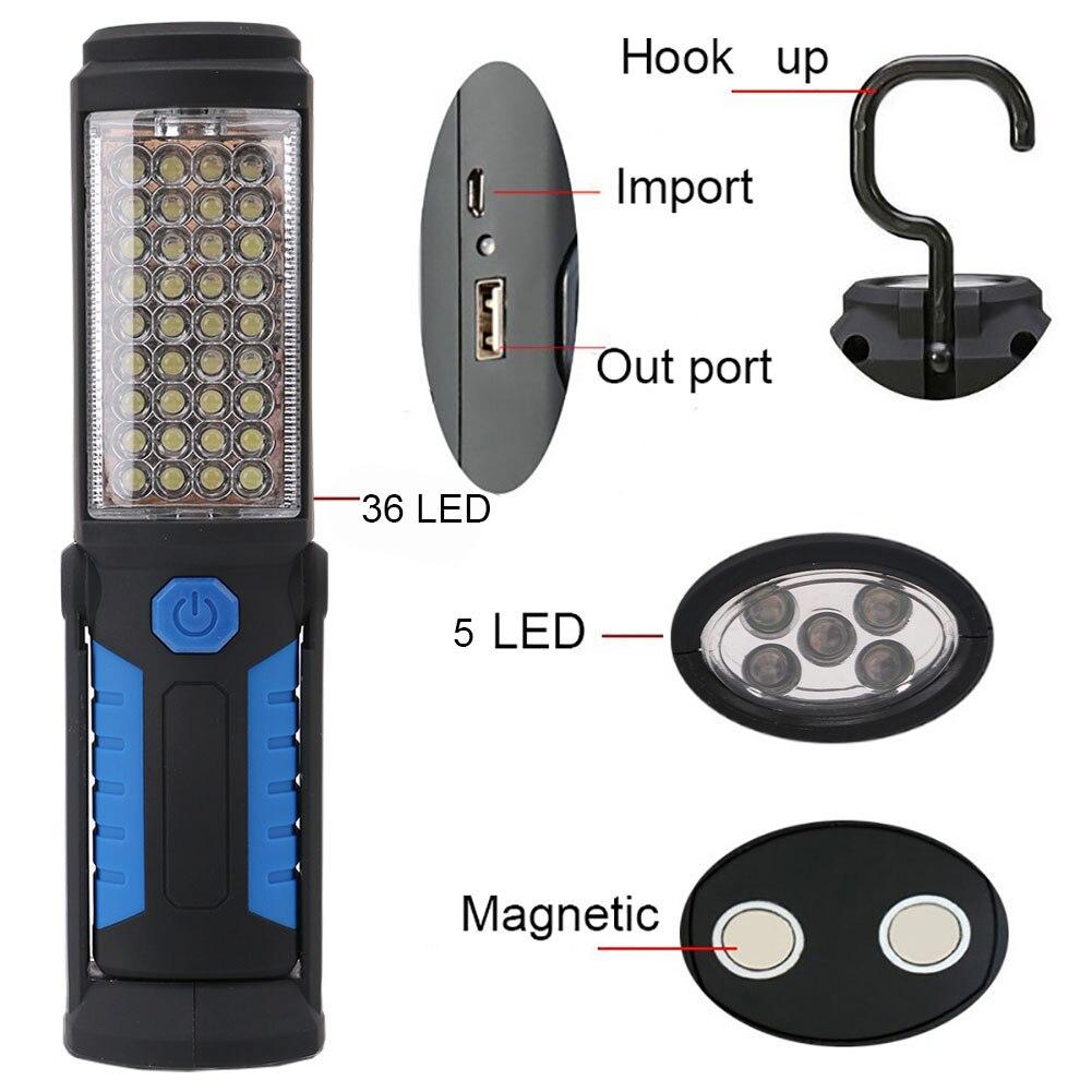 USB зарядка 36 + 5LED рабочих Открытый Отдых на природе света Магнитный крючок лампы аварийного Torch Light Водонепроницаемый led ручной работы лампа
