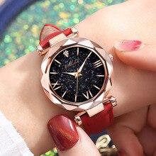 Women Watch Round Star Dial Roman Numerals Wrist Watch with