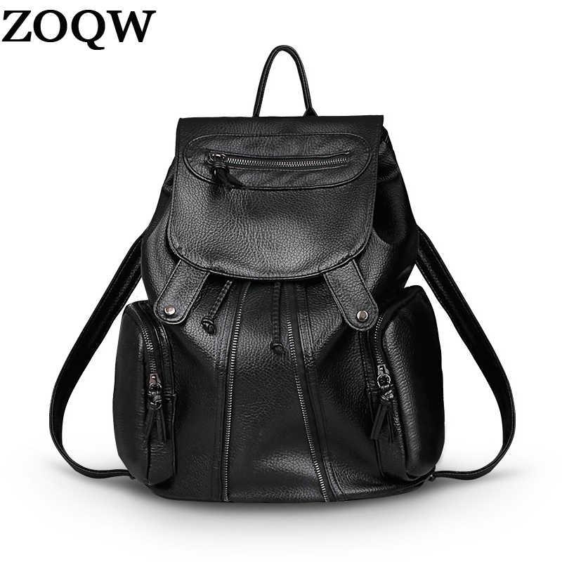 Для женщин Известные бренды сумки 2018 Европейская Новая мода кожаный рюкзак женский черный Высокое качество Женский школьная сумка LX538