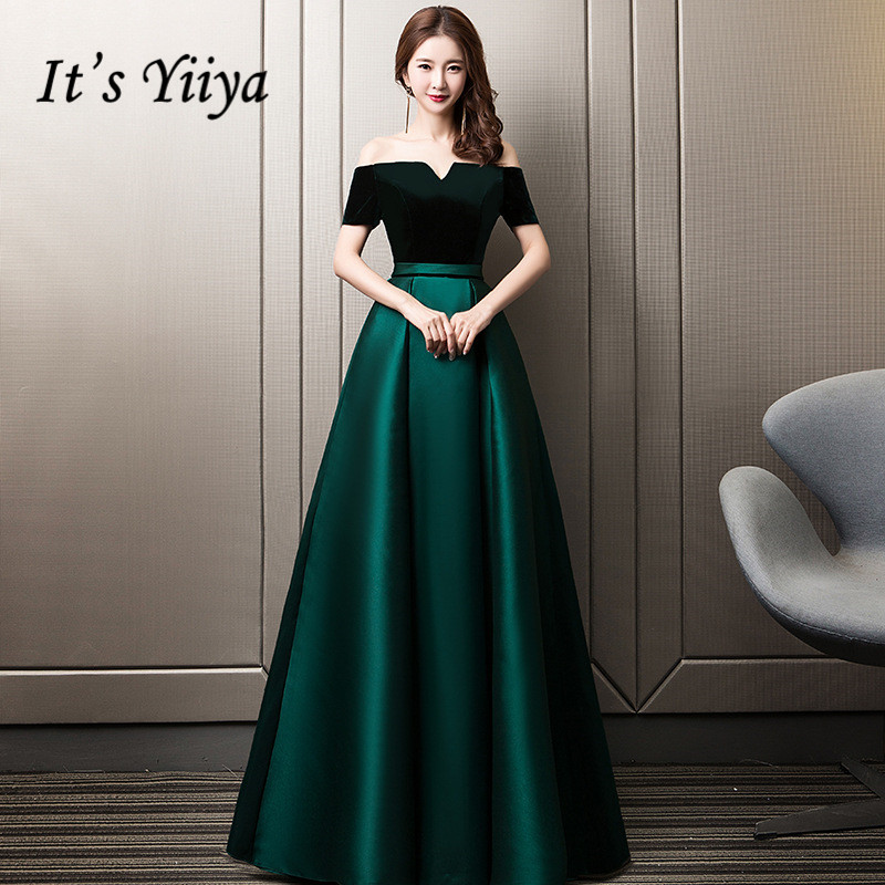 It's YiiYa Evening Dresses Sexy Boat Neck Lace Up Prom Formal Dress Elegant Green Backless Pockets Long A-line Party Gowns E349