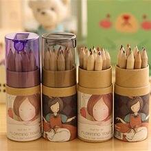 12 couleurs artiste professionnel dessin fin peinture croquis écriture étuis à crayons crayons de couleur