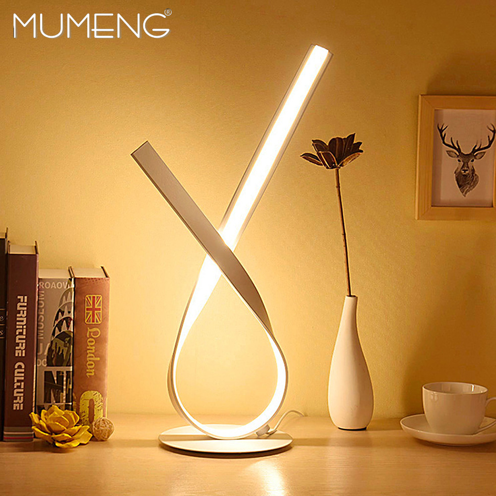 MUMENG LED Desk Lamp 220V 12W Warm White Aluminum Table Lamp Dimmable Light Stepless Adjusted Control
