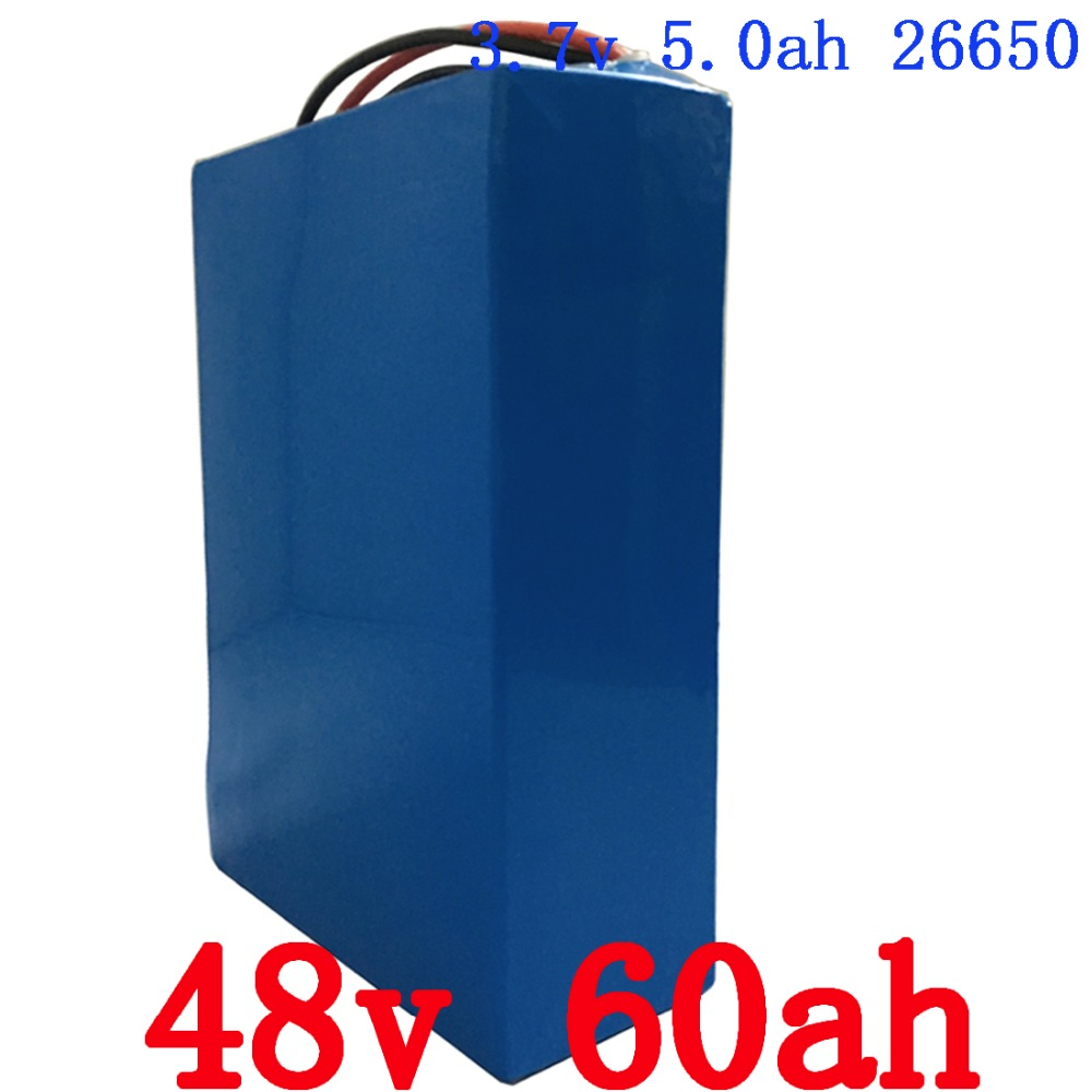 High Safety Electric Bike Battery 48V 60Ah Lithium Battery Pack 2800W eBike Battery 48v with 5A Charger Duty and Shipping Free