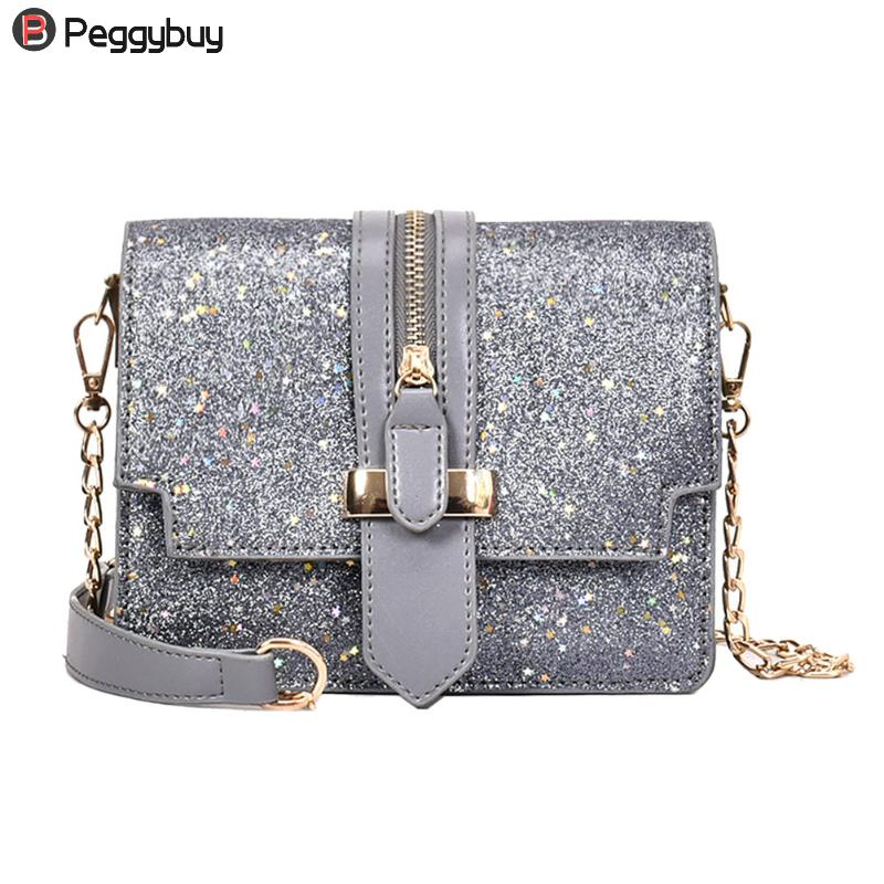 Women Glitter Sequins Handbags PU Leather Shoulder Messenger Bags Chain Small Lady Fashionable Party Clutch Flap Crossbody Bags glitter sequins women pu chain handbags messenger crossbody bags party shoulder sling bags fashion girls shinning clutch bags