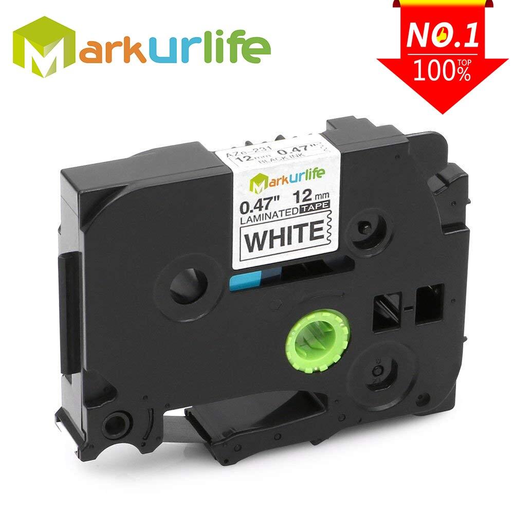 1PC TZe231 Compatible for Brother P-touch Printer Label Tape Tze-231 Tz-231 12mm Black on White TZ TZe 231 Laminated Ribbons Клейкая лента