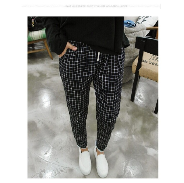 New Spring Casual Loose Cotton Harem Pants Plus Size Plaid Capris Grid Black Pockets Women Trousers Spring Loose Harem Pants 5XL