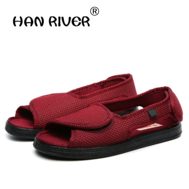 spring autumn Professional diabetes health care shoes middle-aged elderly foot swollen shoes Front Opening Breathable Flat Shoes