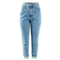 FATOBENERY Retro Style Minimalist No Decoration Women's Large Size High Waist Washed Light Blue Real Jeans Women's Skinny Jeans