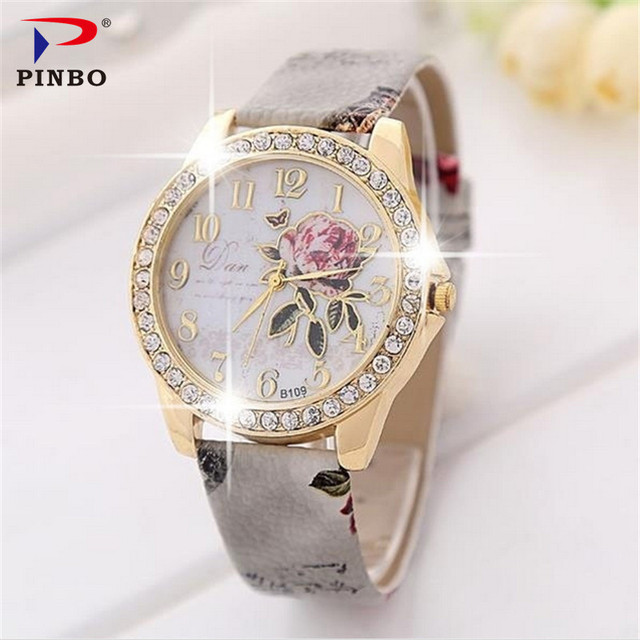 The rose series PINBO women luxury brand quartz colock watch fashion leisure lea