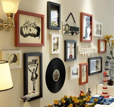 Europese Muur Ornamenten Hanger woonkamer muur opknoping creatieve schilderen vinyl record ornamenten herten hoofd muurstickers in set - 5
