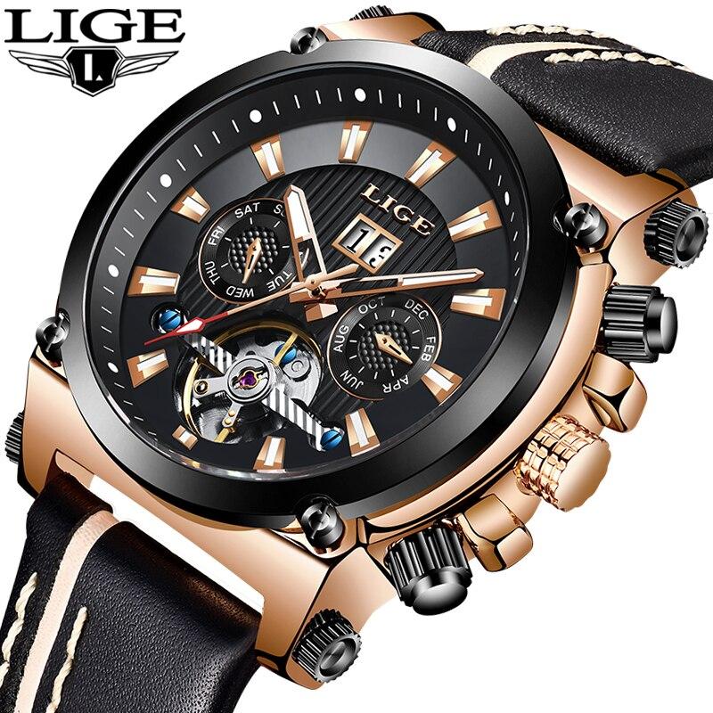 2019 LIGE hommes montre de mode automatique mécanique Tourbillon en cuir de luxe marque Sport étanche montres hommes Relogio Masculino