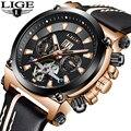 2019 reloj de hombre LIGE de moda mecánico automático Tourbillon de cuero de marca de lujo deporte relojes impermeables para hombre reloj Masculino