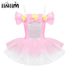 Iiniim เด็ก Ballerina สายรัดไหล่ปิดไหล่ออกแบบ 3D ดอกไม้บัลเล่ต์เต้นรำยิมนาสติก Leotard หญิง Tutu ชุด