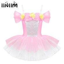 Iiniim dzieci baleriny paski na ramionach Off ramię projekt 3D kwiaty strój baletowy gimnastyka trykot dziewczyny Tutu sukienka