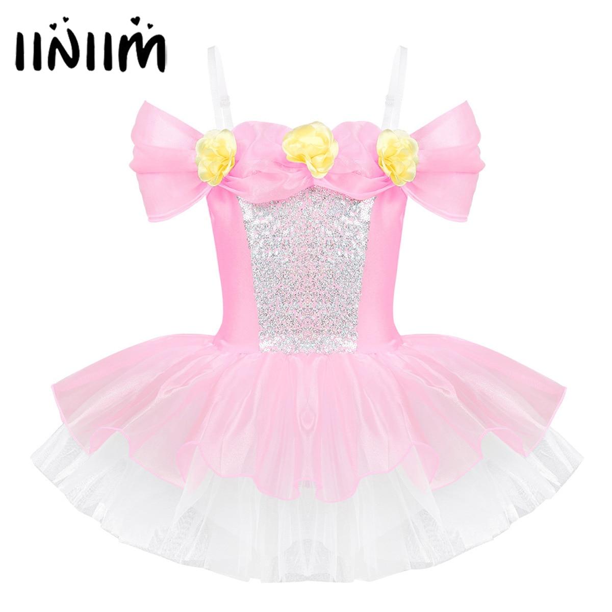 iiniim Kids Ballerina Shoulder Straps Off Shoulder Design 3D Flowers Ballet Dance Wear Gymnastics Leotard Girls Tutu DressBallet   -