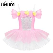 iiniim Kids Ballerina Shoulder Straps Off Shoulder Design 3D Flowers Ballet Dance Wear Gymnastics Leotard Girls Tutu Dress