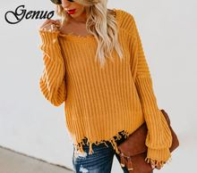 Autumn and Winter Fashion Long Sleeve V-neck Solid Color Backless Loose Ladies Sweater hamaliel high quality autumn and winter sweater long dress 2018 fashion solid long sleeve knitted v neck bodycon dress with belt