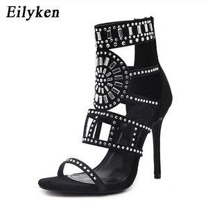 Image 2 - Eilyken אתני בוהן פתוח ריינסטון עיצוב עקב גבוה סנדלי קריסטל קרסול לעטוף יהלומי גלדיאטור נשים סנדלים שחור גודל 35 42