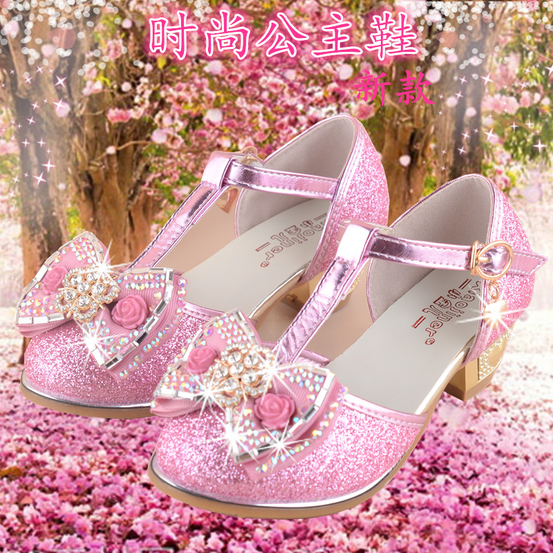 qloblo Girls Princess Sandals Flowers 2018 New Summer Student Glitter Party Shoe Children Wedding Shoes for Kids size 27~37