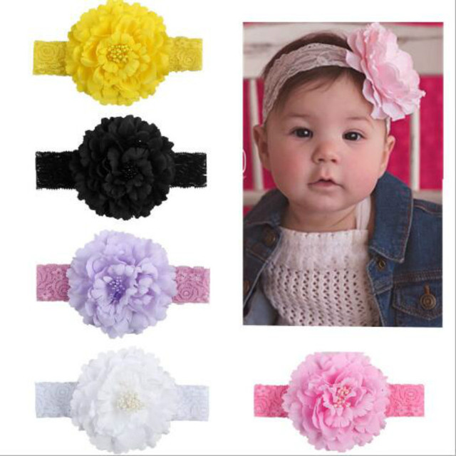1pcs 2018 Retail Floral Lace Headband Chrysanthemum Flower Girls elastic  hairbands Headwear Kids hair accessories 734c3b0b340