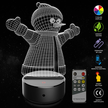 Snowman Shape 3D Illusion Lamp 7 Color Change Touch Switch LED Night Light Acrylic Desk Atmosphere Novelty Lighting