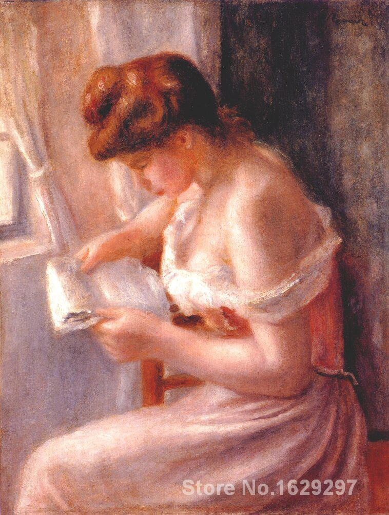 artwork of Pierre Auguste Renoir A girl reading handmade art paintings reproduction High Quality