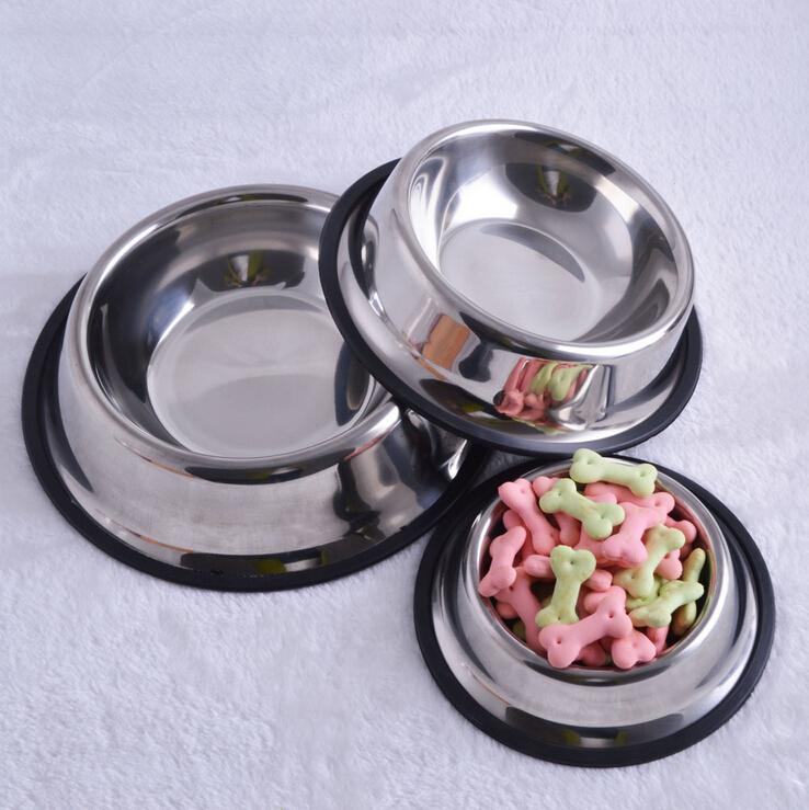 1pc  4 Size Stainless Steel Standard Pet Dog Puppy Cat Food Or Drink Water Bowl Dish