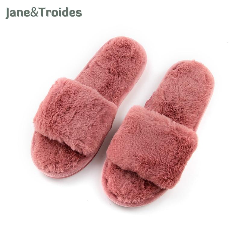 Fluffy Home Autumn Women Slippers Open Ts