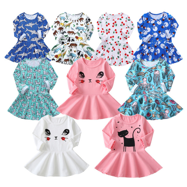 c51105dad6220 US $1.83 39% OFF|Princess Girls Dress 2019 New Fashion summer Cat Print  Children Long Sleeve Cartoon baby girl Party Princess Dresses for kids-in  ...