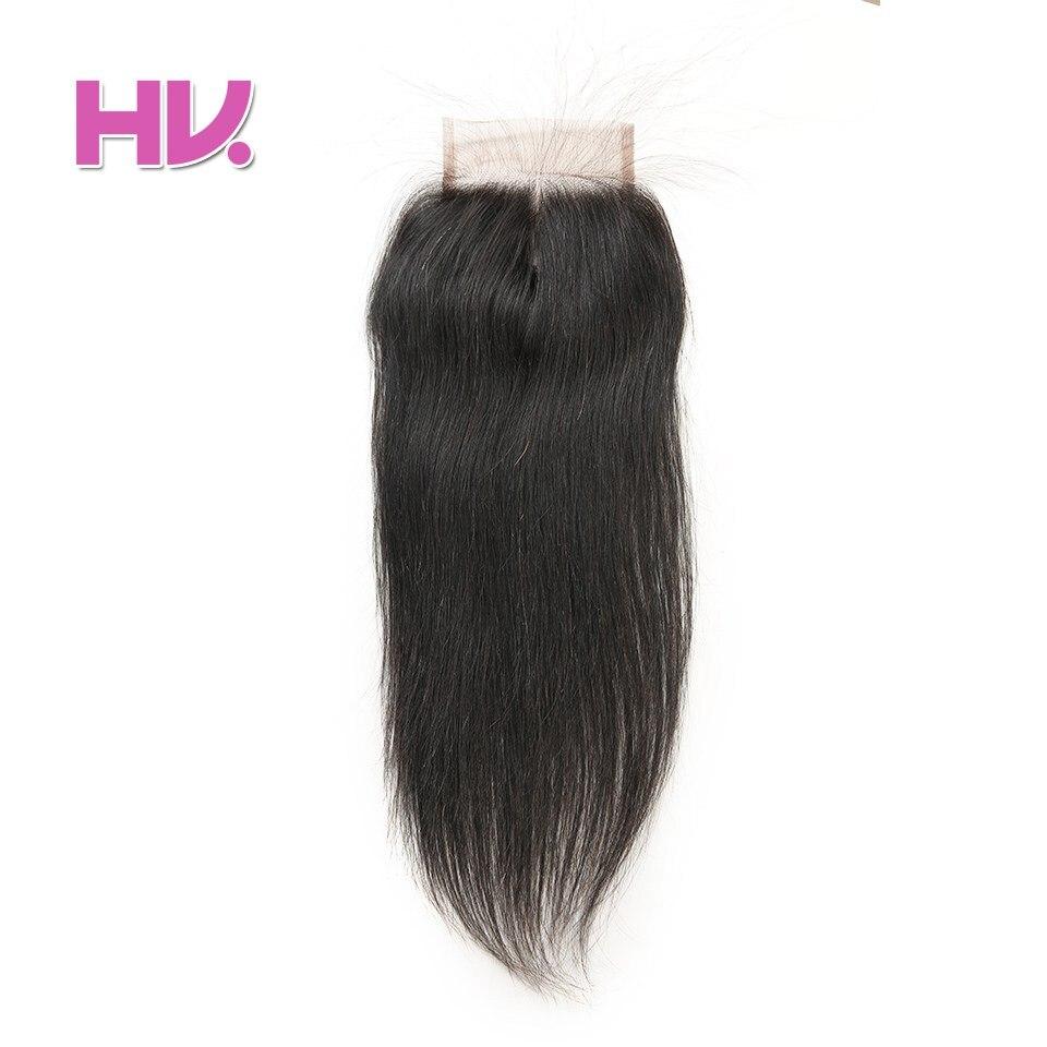 Villa de cabelo Remy Peruano Fechamento Do Laço Do Cabelo Humano Em Linha Reta 4 * 4 Parte livre Parte Do Meio de Três Partes de Fechamento Do Laço Do Cabelo Humano