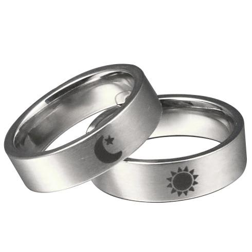 Hot Moon Star Sun Rings Couples Ring Titanium Steel Men and Women Love Rings Lovers' Rings