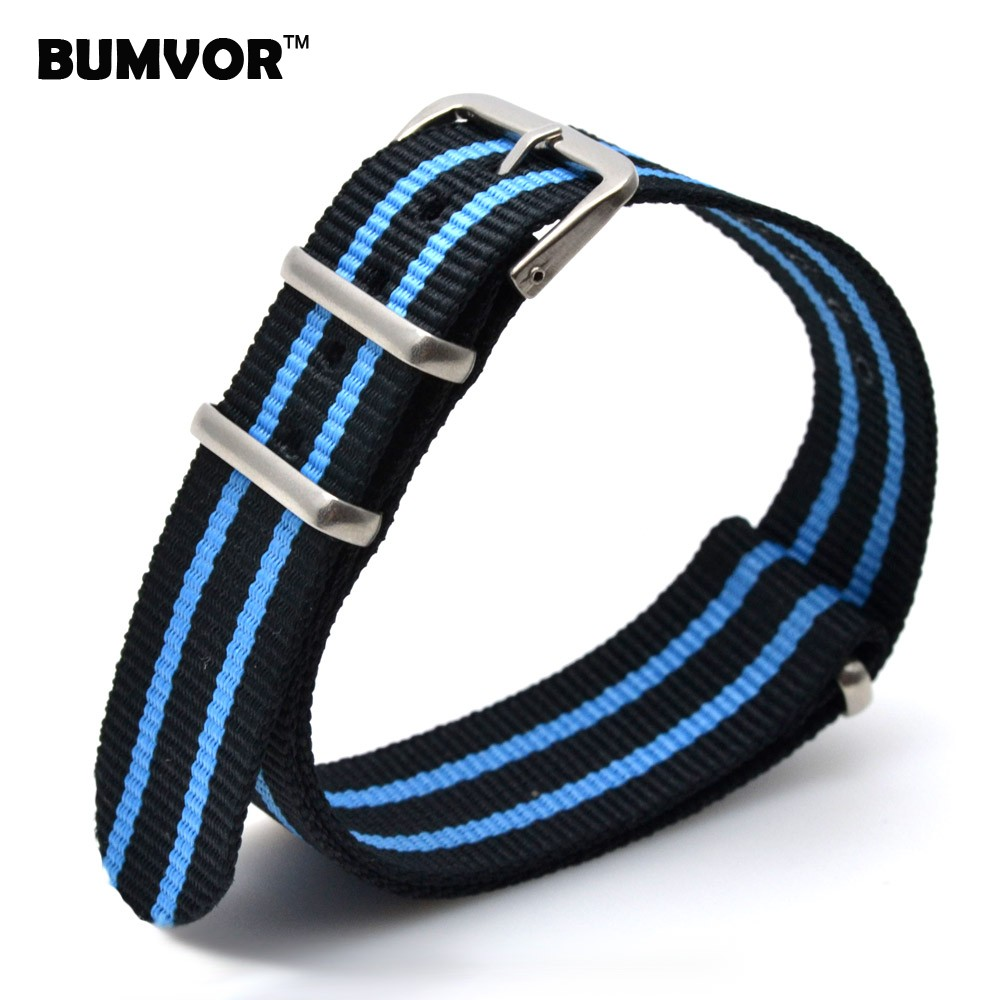 все цены на Wholesale 22 mm Multi Color Black Blue Army Sports nato fabric Nylon watchband Watch Strap Wristwatch Bands Buckle belt 22mm онлайн