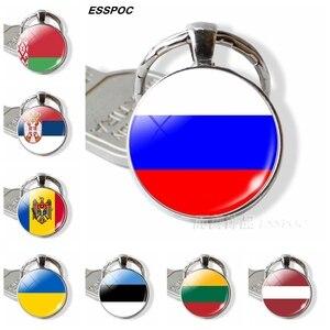 Russia Flag Keychain Eastern European Country Flag Key Chain Ukraine Belarus Estonia Latvia Lithuania Moldova Flag Jewelry Gifts(China)