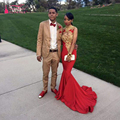 Sereia Vermelho Vestidos de Baile elegante de Alta Pescoço vestidos de Noite Ouro Lace Backless Partido Vestidos Mulheres formal Wear Z346