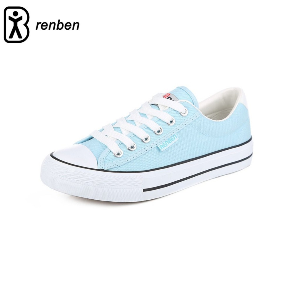 RenBen Comfortable Korean Style Women Solid Color Shoes Low Casual Young Girls Breathable Leisure Students Shoes free shipping candy color women garden shoes breathable women beach shoes hsa21