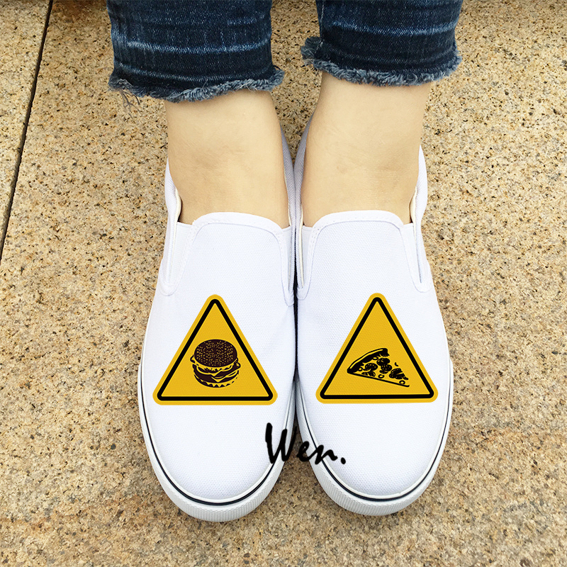 Wen Slip On White Sneakers Hamburger Pizza Traffic Warning Signs Original Design Black Girl Boys Canvas Flat Shoes